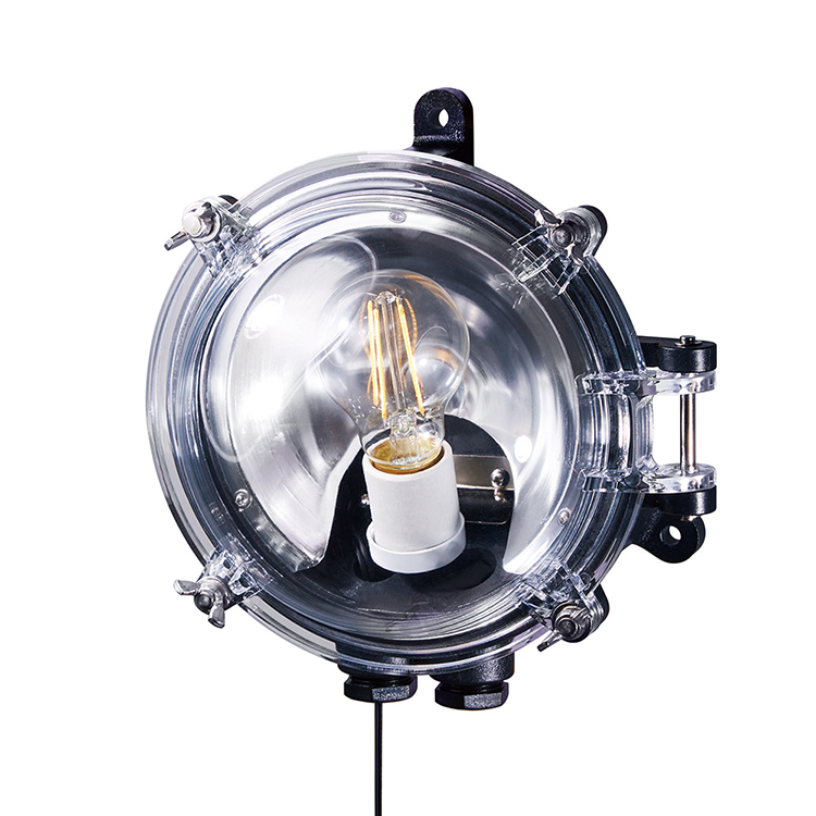 Navy base-dome wall lamp with cable